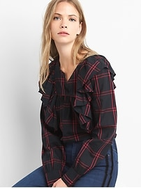 Cascade ruffle plaid shirt