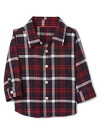 Plaid twill long sleeve shirt