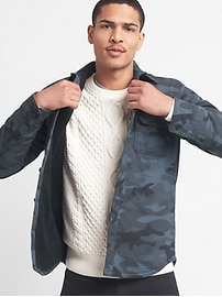 Sherpa-lined camo shirt jacket