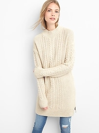 Mockneck cable-knit sweater dress