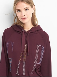 Diamond studded logo hoodie