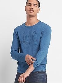 T-shirt à manches longues avec logo en indigo