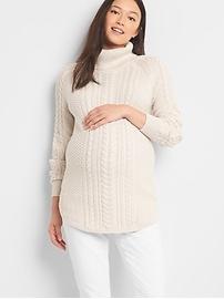 Tunique Pull de maternité en tricot torsadé à col roulé