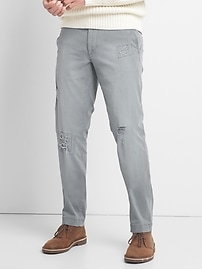 Destructed Khakis in Slim Fit with GapFlex