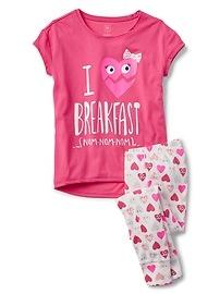 Pyjama à manches courtes à motifs de cœurs