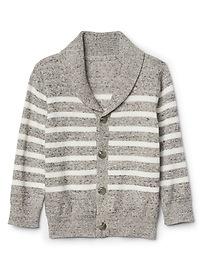 Stripe shawl collar cardigan