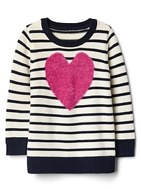 Stripe fuzzy heart tunic