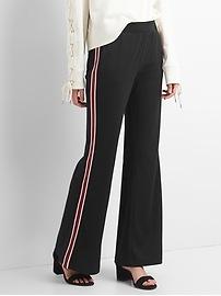 Pantalon de randonnée en tricot ponte rayé à jambe large