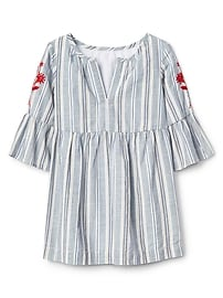 Embroidered stripe denim dress
