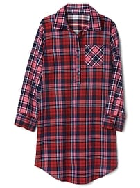 Plaid flannel classic nightgown