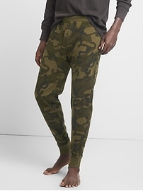 Slub Knit Long Johns in Camo Print