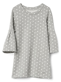 Fleece dot bell sleeve dress