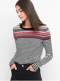 Fair isle stripe crewneck sweater
