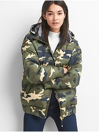 Reversible camo puffer jacket