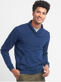 Indigo French terry shawl-collar pullover