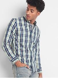 Chemise indigo à carreaux, coupe standard