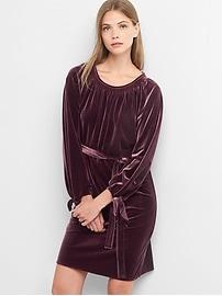 Velvet tie-sleeve scoopneck dress