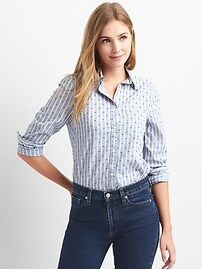 Stripe and dot poplin button-front shirt.