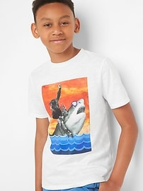T-shirt à imprimé à manches courtes en fil flammé