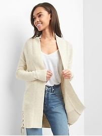 Lace up ribbed cardigan