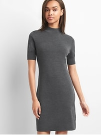 Merino wool short sleeve sweater dress