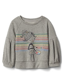 Graphic Balloon-Sleeve Pullover Sweatshirt