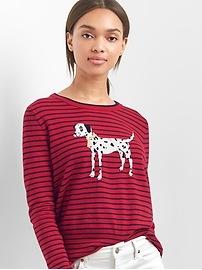 Dalmatian graphic stripe pullover sweater
