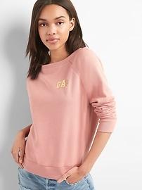 Fleece raglan boatneck sweater