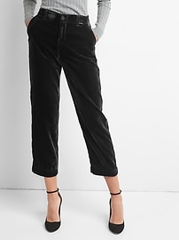 Velvet crop girlfriend chinos