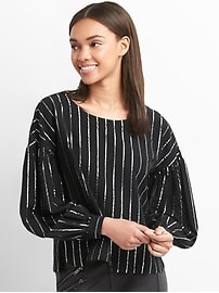 Metallic stripe button-back top