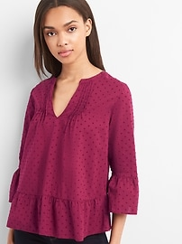 Swiss dot pintuck ruffle top