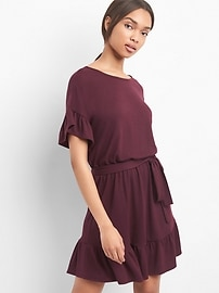 Softspun ruffle tie-belt dress
