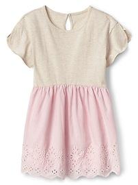 Eyelet Mix-Fabric Dress