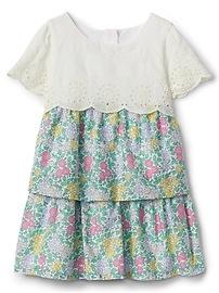 Mix-Fabric Tier Dress