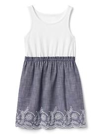 Eyelet Mix Fabric Dress