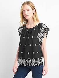 Pleated eyelet flutter top