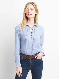 Stripe lace-up popover shirt