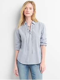 Stripe lace-up shirt