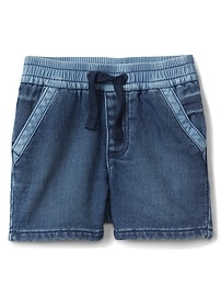 Pull-On Denim Shorts with Stretch