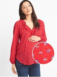 Maternity floral swiss-dot ruffle top