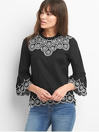 Bell-sleeve eyelet top