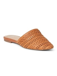 Flat Mules in Woven Leather