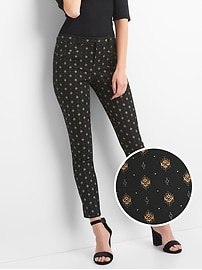 Gold print skinny ankle pants