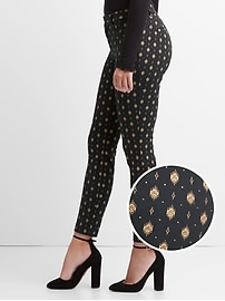 Gold print curvy skinny ankle pants