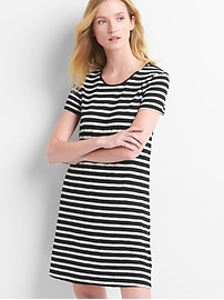 Short sleeve slub twist-back dress