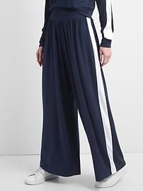 Pantalon à jambe extra large en tricot moelleux à rayures latérales