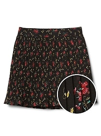 Floral pleated flippy skirt