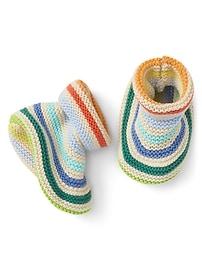 Chaussons en tricot en point mousse à rayures