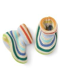 Stripe Garter Knit Booties