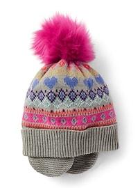 Fair isle pom flap hat